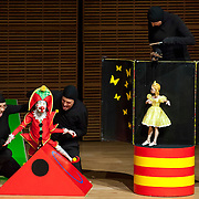 May 5, 2012 - New York, NY : From left, puppeteers Eva Wiener, Philippe Nicolas Brunner, and Ursula Winzer of the Salzburg Marionette Theater perform Claude Debussy's 'La boîte à joujoux (The Toy Box) (1913),' featuring pianist András Schiff (not pictured), at Zankel Hall on Saturday evening. CREDIT: Karsten Moran for The New York Times