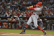 PHOENIX, AZ - JULY 08:  Joey Votto #19 of the Cincinnati Reds hits a two run homer during the first inning of the MLB game against the Arizona Diamondbacks at Chase Field on July 8, 2017 in Phoenix, Arizona.  (Photo by Jennifer Stewart/Getty Images)