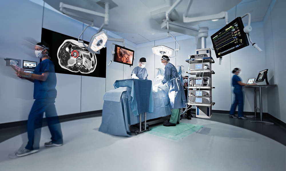 Arthrex Synergy Suite Highlighting boom holding Synergy Consoles, General surgery scene with models, model released.