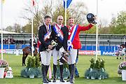 Podium Nederlands Kampioen Veteranen 2016 1. Jan Smolders - Keep Dreaming, 2. Juus Bankers - Nadouch Z, 3. Gijs Klein - Daarom<br /> CH Mierlo 2016<br /> © DigiShots