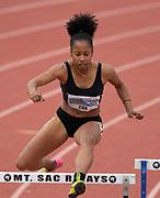 Apr 19, 2019; Torrance, CA, USA; Melia Cox runs in a women's 400m hurdles heat during the 61st Mt. San Antonio College Relays at El Camino College.