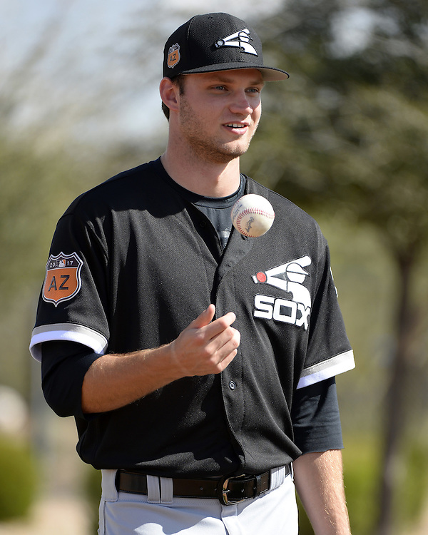 GLENDALE, ARIZONA - FEBRUARY 20:  Spencer Adams #77 of the Chicago White Sox looks on during spring training workouts on February 20, 2017 at Camelback Ranch in Glendale Arizona.  (Photo by Ron Vesely).  Object:  Spencer Adams