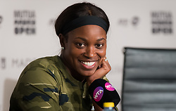 May 9, 2019 - Madrid, MADRID, SPAIN - Sloane Stephens of the United States talks to the media after winning her quarter-final match at the 2019 Mutua Madrid Open WTA Premier Mandatory tennis tournament (Credit Image: © AFP7 via ZUMA Wire)