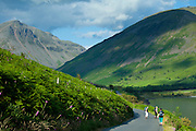 Tourists by Wasdale Fell and Wastwater in the Lake District National Park, Cumbria, UK