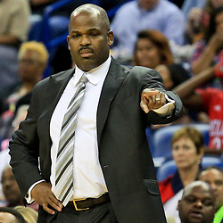 Oct 4, 2016; New Orleans, LA, USA;  Indiana Pacers head coach Nate McMillan against the New Orleans Pelicans during the second quarter of a game at the Smoothie King Center. Mandatory Credit: Derick E. Hingle-USA TODAY Sports