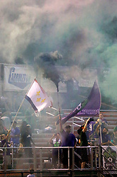 27 June 2015. New Orleans, Louisiana.<br /> National Premier Soccer League. NPSL. <br /> Jesters 1- Georgia Revolution 5.<br /> Jesters fans the Royal Court support their team as the New Orleans Jesters lose 1-5 to the Georgia Revolution in a lightning delayed game at home in the Pan American Stadium. <br /> Photo©; Charlie Varley/varleypix.com