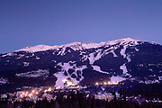 Whistler Village and Blackcomb Mountain ski resort at twilight, British Columbia, Canada.