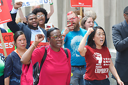 Bernie2020 campaign co-chair Sen. Nina Turner and City-council woman Helen Gym, joined by local politicians, hospital workers and union members protest the imminent closure of Hahnemann University Hospital at a rally outside the Center City facilities in Philadelphia, PA on July 11, 2019. The struggling Center City located hospital announced it will seize operations and is facing out critical services like Emergency access and the maternity ward unless support is found to end the financial turmoil