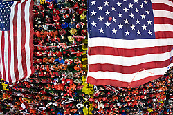 Aerial view of American flags spread across US fan groups Sam's Army and The American Outlaws during the Mexico game.  The United States men's soccer team defeated the Mexican national team 2-0 in CONCACAF final group qualifying for the 2010 World Cup at Columbus Crew Stadium in Columbus, Ohio on February 11, 2009.