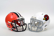 A view of Cleveland Browns and Arizona Cardinals helmets on Thursday, November 2, 2017. (Kirby Lee via AP)