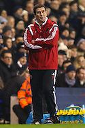 Nigel Clough, Manager of Sheffield United, looks on with his arms folded during the Capital One Cup Semi-Final 1st Leg match between Tottenham Hotspur and Sheffield Utd at White Hart Lane, London, England on 21 January 2015. Photo by David Horn.