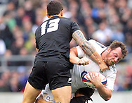 © Andrew Fosker / Seconds Left Images 2010 - England's Steve Thompson is stopped by New Zealand's Daniel Carter & New Zealand's Sonny Bill Williams (L) England v New Zealand All Blacks - Investec Challenge Series - 06/11/2010 - Twickenham Stadium  - London - All rights reserved..