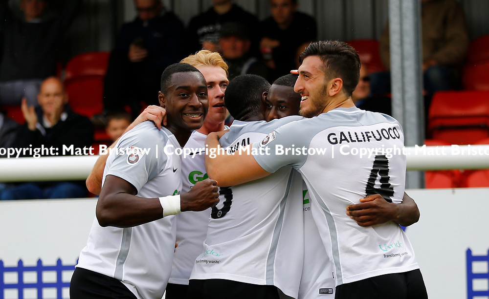 SEPTEMBER 1y6:  Dover Athletic against Chester FC in Conference Premier at Crabble Stadium in Dover, England. Doveer ran out emphatic winners 4 goal to nothing. Dover's midfielder Nortei Nortey celebrates scoring Dovers third goal.  (Photo by Matt Bristow/mattbristow.net)