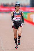 Yuka Ando (Japan) approaching the finish line in the Women's Elite race, during the Virgin Money 2019 London Marathon, London, United Kingdom on 28 April 2019.