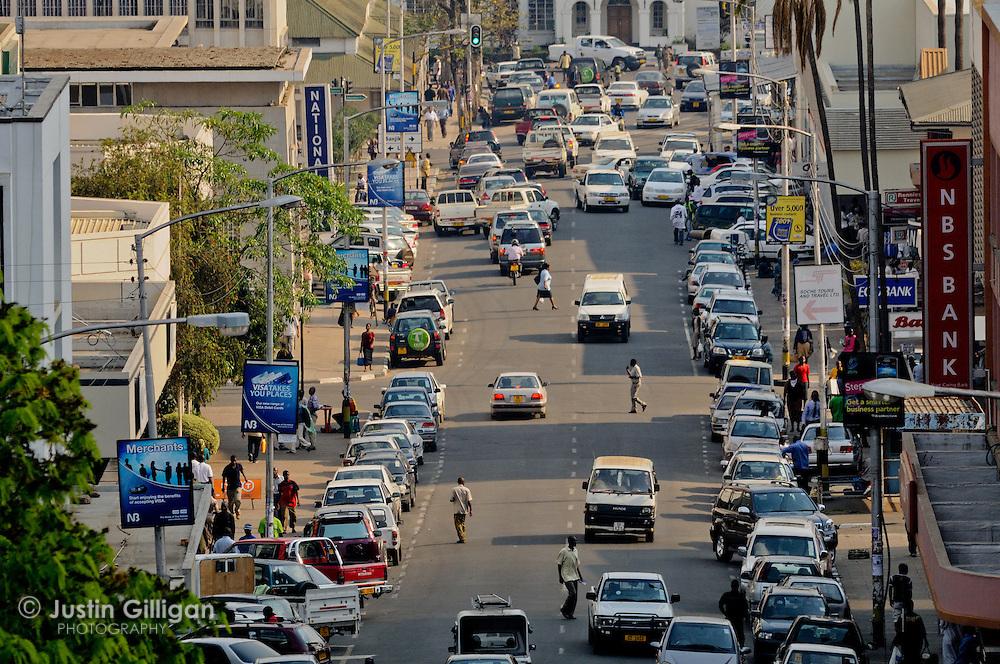 Busy street at Blantyre, a major city of Malawi, Malawi.
