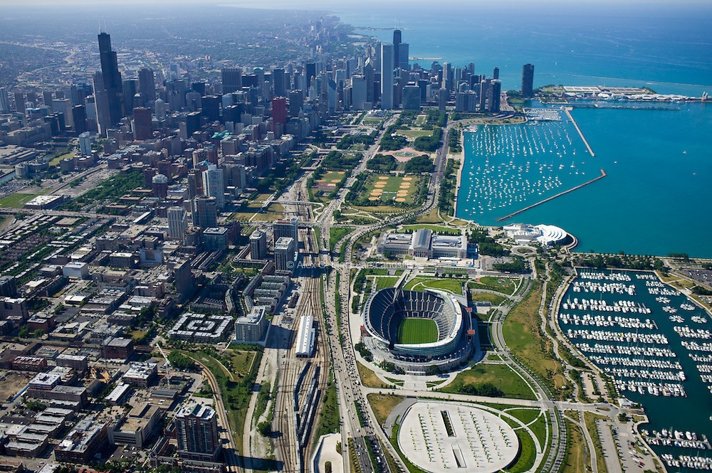 Soldier Field Stadium and Downtown Chicago
