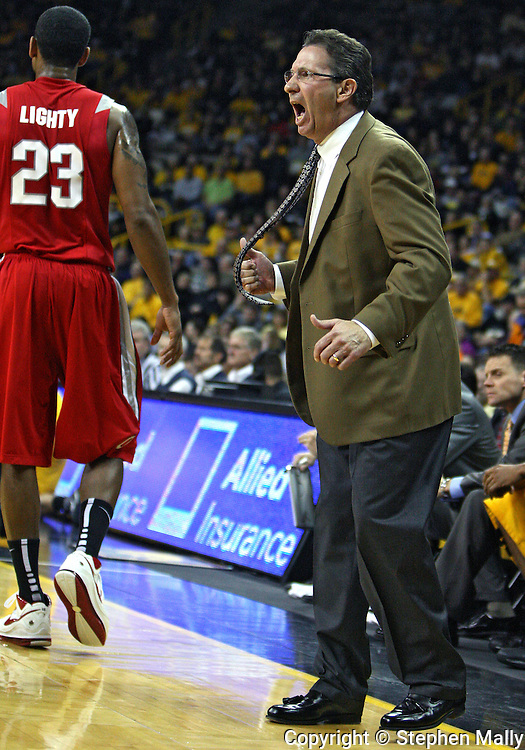 January 27, 2010: Iowa head coach Todd Lickliter yells during the first half of their game at Carver-Hawkeye Arena in Iowa City, Iowa on January 27, 2010. Ohio State defeated Iowa 65-57.