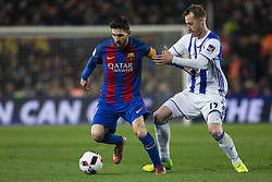 January 26, 2017 - Barcelona, Spain - Leo Messi FC Barcelona defended by Zurutuza of Real Sociedad during the Spanish Copa del Rey (King's Cup) match between FC Barcelona vs Real Sociedad at Camp Nou stadium  on January 26, 2017 in Barcelona, Spain. (Credit Image: © Xavier Bonilla/NurPhoto via ZUMA Press)