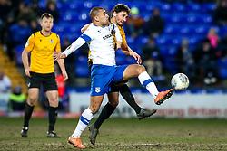 Edward Upson of Bristol Rovers takes on James Vaughan of Tranmere Rovers - Mandatory by-line: Robbie Stephenson/JMP - 11/02/2020 - FOOTBALL - Prenton Park - Birkenhead, England - Tranmere Rovers v Bristol Rovers - Sky Bet League One