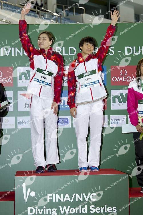 CHN WU Minxia; SHI Tingma gold medal<br /> FINA/NVD Diving World Series 3 M. Women Synchro final<br /> Hamdan Bin Rashid Bin Mohammed Sport Complex<br /> Dubai 19 - 21  March 2015<br /> Day 1 - March 19 th <br /> Photo Giorgio Scala / Deepbluemedia