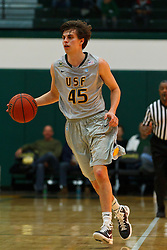 Dec 10, 2011; San Francisco CA, USA;  San Francisco Dons guard Cody Doolin (45) dribbles the ball against the Pacific Tigers during the first half at War Memorial Gym.  San Francisco defeated Pacific 79-69. Mandatory Credit: Jason O. Watson-US PRESSWIRE