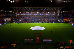 CARDIFF, WALES - Sunday, October 13, 2019: A light show before the UEFA Euro 2020 Qualifying Group E match between Wales and Croatia at the Cardiff City Stadium. (Pic by Paul Greenwood/Propaganda)