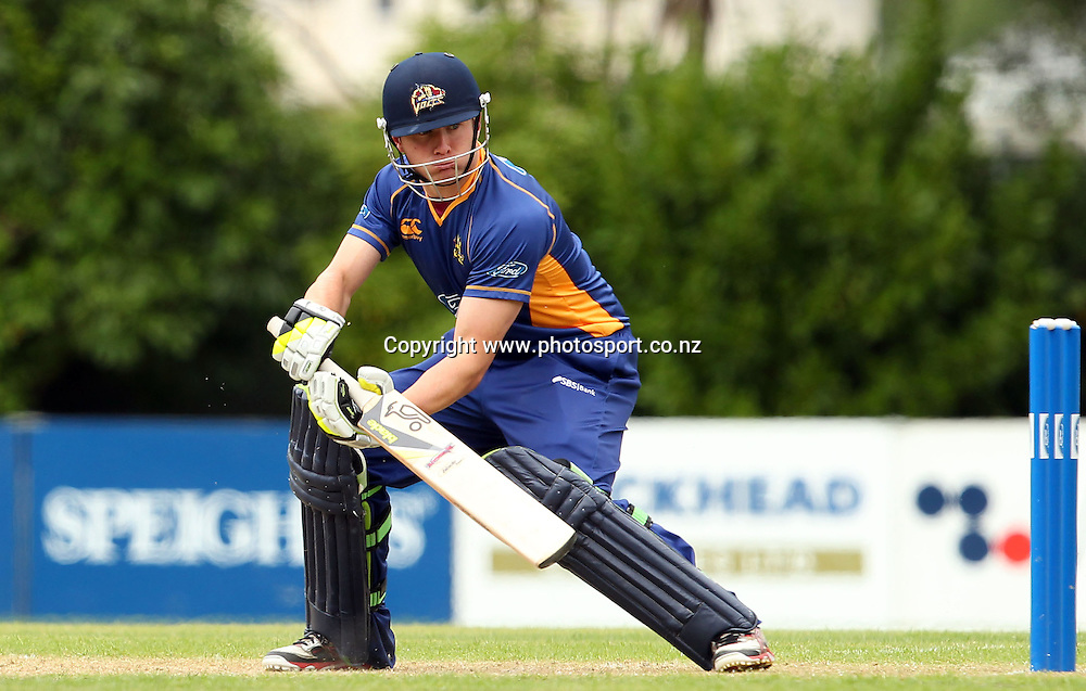 Nick Beard dabs the ball down through the slips.<br /> Otago Volts v Canterbury Wizards, 5 February 2012, University Oval, Dunedin, New Zealand.<br /> Photo: Rob Jefferies/PHOTOSPORT