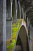 A moss covered bridge over the Nehalem River in a rural area outside of Portland, Oregon.