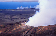 Steam rising from the Pu'u O'o Vent on the southern flank of Kilauea, Hawaii Volcanoes National Park, The Big Island, Hawaii