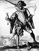 A Dutch soldier carrying an arquebusier (rifle), part of the armed forces which supported the Dutch East India Company. Circa 1725
