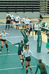 26 August 2017:  Kira Jackson during the green-white scrimmage of the Illinois Wesleyan Titans in Shirk Center, Bloomington IL