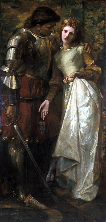 Ophelia and Laertes' oil on canvas. Painting by William Gorman Wills (1828-1891) Irish artist.  Laertes comforting his sister Ophelia, and incident in the play  'Hamlet' by William Shakespeare.