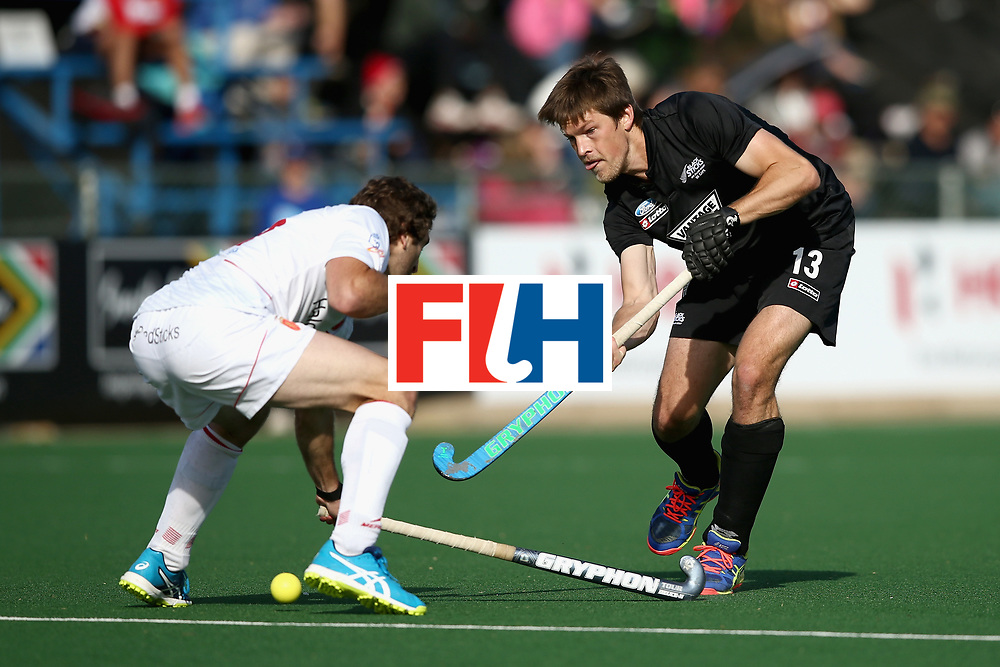 JOHANNESBURG, SOUTH AFRICA - JULY 17: Marcus Child of New Zealand and Diego Arana of Spain battle for possession during the Group A match between Spain and New Zealand on day five of the FIH Hockey World League - Men's Semi Finals on July 17, 2017 in Johannesburg, South Africa.  (Photo by Jan Kruger/Getty Images for FIH)