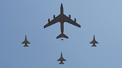 © licensed to London News Pictures. ANKARA, TURKEY  30/08/11. Airplanes are demonstrating the midair refueling at the 30th August Turkish Victory Day celebrations in capital Ankara. Please see special instructions for usage rates. Photo credit should read TOLGA AKMEN/LNP