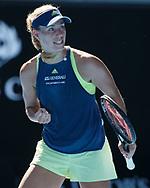 ANGELIQUE KERBER (GER) macht die Faust und jubelt,Jubel,Emotion,<br /> <br /> <br /> Tennis - Australian Open 2018 - Grand Slam / ATP / WTA -  Melbourne  Park - Melbourne - Victoria - Australia  - 18 January 2018.