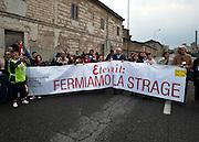 Casale Monferrato, Piemonte, Italia, Italy. 28 apr 2011. World Day against asbestos. Giornata mondiale contro l'amianto. parent's victims demonstration. Manifestazione di parenti delle vittime.