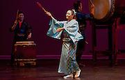 "Fujinami Kai dancer Kanchiye Fujima performs at the Portland Taiko concert ""Three: 3 conversations with Taiko"", Winningstad Theatre, Portland Center for the Performing Arts, Portland, Oregon."