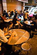 Steetfood hawker stalls at night.
