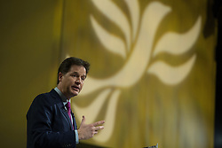 © Licensed to London News Pictures . 15/03/2015 . Liverpool , UK . NICK CLEGG delivers the leaders' speech . The Liberal Democrat Party Conference at the Arena and Conference Centre in Liverpool . Photo credit : Joel Goodman/LNP