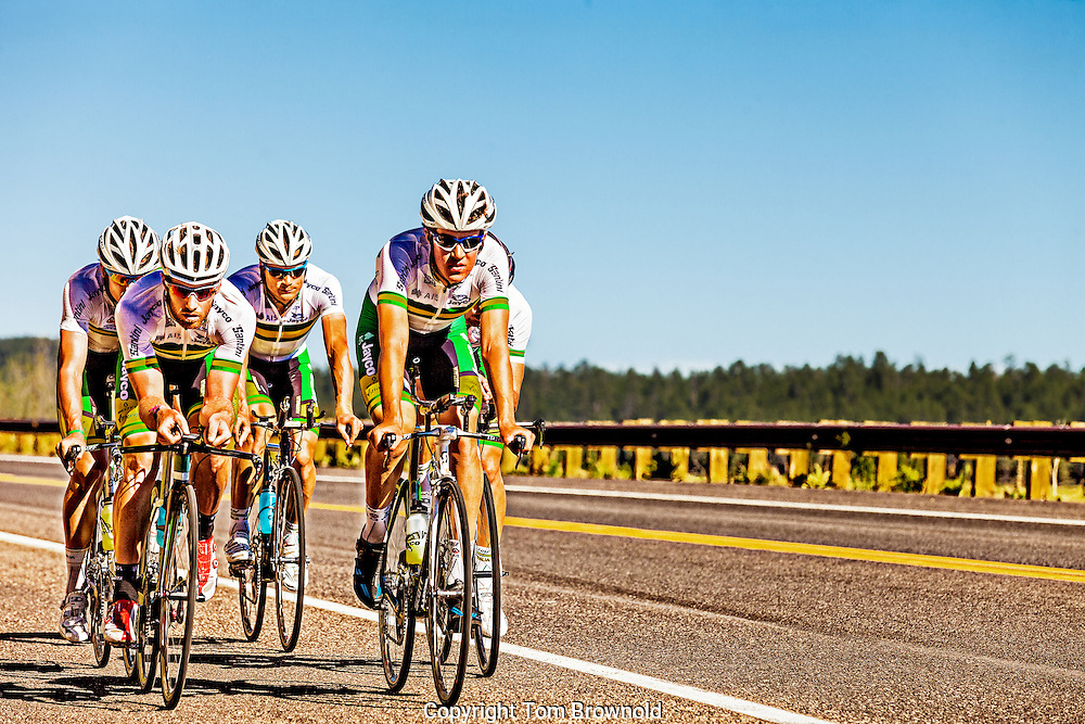 Australian cycling team practicing in Flagstaff, Arizona at 7000' above sea level
