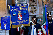 Roma, Italy. 17th January 2016 <br /> The Guard of Honor to the royal tombs of the Pantheon must keep alive the memory linked to house of Savoy , the Risorgimento , and national military traditions.  The National Institute for the Guard of Honour to the Royal Tombs of the Pantheon celebrates the 138th anniversary of its founding in 1878 , built to provide the service of guarding the tombs of the kings of Italy at the Pantheon.