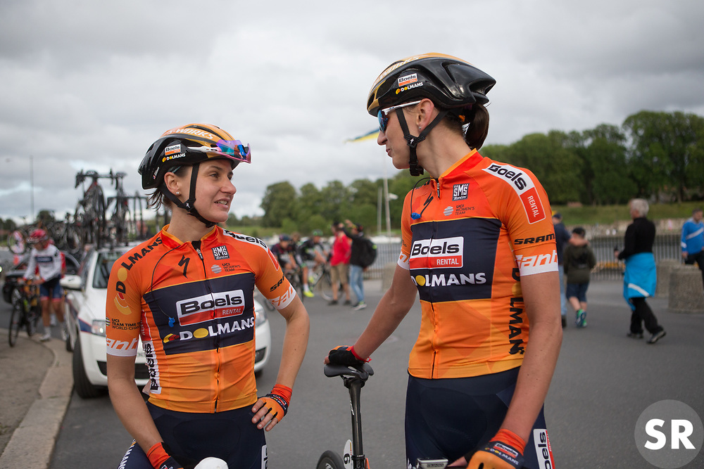 Boels-Dolmans Cycling Team riders discuss the bridge incident after Stage 2 of the Ladies Tour of Norway - a 140.4 km road race, between Sarpsborg and Fredrikstad on August 19, 2017, in Ostfold, Norway. (Photo by Balint Hamvas/Velofocus.com)