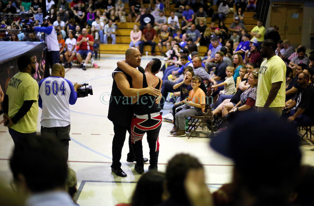 12 March 2016. Metairie, Louisiana.<br /> Wrestling action from Wildkat Sports and Entertainment's 'March into Mayhem' at the Meisler Middle School.<br /> Wrestler Socorro with Hardbody Harper defeated Scott Phoenix.<br /> Photo&copy;; Charlie Varley/varleypix.com