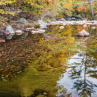 Reflections of fall foliage in river at Sculptured Rocks State Area, NH