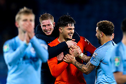 Arijanet Muric of Manchester City celebrates with Kevin De Bruyne and Kyle Walker of Manchester City after his saves help his side beat Leicester City in a penalty shootout - Mandatory by-line: Robbie Stephenson/JMP - 18/12/2018 - FOOTBALL - King Power Stadium - Leicester, England - Leicester City v Manchester City - Carabao Cup Quarter Finals