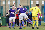 City of Liverpool's (purple) Matthew Williams celebrate his goal making it 3-0 during the North West Counties League Play Off Final match between Litherland REMYCA and City of Liverpool FC at Litherland Sports Park, Litherland, United Kingdom on 13 May 2017. Photo by Craig Galloway.