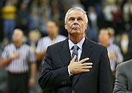 January 19 2013: Wisconsin Badgers head coach Bo Ryan holds his hand over his heart during the National Anthem before the start of the NCAA basketball game between the Wisconsin Badgers and the Iowa Hawkeyes at Carver-Hawkeye Arena in Iowa City, Iowa on Sautrday January 19 2013. Iowa defeated Wisconsin 70-66.