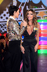 Jasmine Waltz with host Emma Willis as she enters the Celebrity Big Brother house at Elstree Studios in Borehamwood, Herfordshire, during the latest series of the Channel 5 reality TV programme.