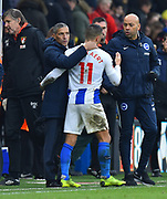 Brighton and Hove Albion manager Chris Hughton hugs Anthony Knockaert (11) of Brighton and Hove Albion at full time after a 3-1 over Bournemouth during the The FA Cup 3rd round match between Bournemouth and Brighton and Hove Albion at the Vitality Stadium, Bournemouth, England on 5 January 2019.