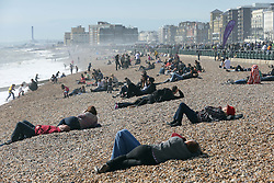 People take to the beach as spring finally arrived in Brighton ,Sunday 14th April 2013 Photo by: Stephen Lock / i-Images